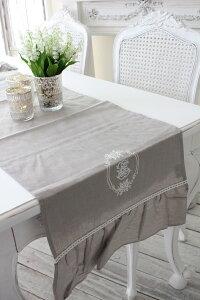 フランスから届くフレンチリネン(テーブルランナー(リネングレー))【BlancdeParis】テーブルセンターモノグラム刺繍シャビーシックアンティーク風フレンチカントリーフランス