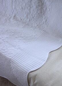 ホワイトキルトシリーズ♪♪【アラベスク柄・キルティングスロー200×250】キルティングマルチカバーキルティングラグ敷物布製フレンチカントリーシャビーシック綿100%