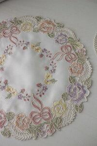 上品なリボン&ローズ刺繍がエレガント♪♪【ラウンドドイリー25cm】円形ドイリーセンター敷物布製リボンモチーフヨーロピアンギフト贈り物