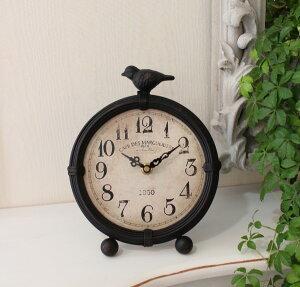 アイアン製のバード置時計(数字文字盤)置時計テーブルクロック輸入雑貨アンティーク調アンティーク雑貨antiqueお洒落