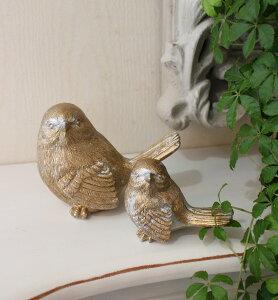 ペアの愛らしいバードオブジェ・2個セット鳥置物バード鳥モチーフ輸入雑貨アンティーク調アンティーク雑貨antique