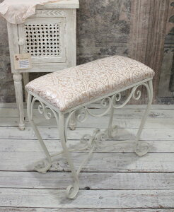ホワイトアイアン・スリムスツール(ピンクダマスク)スツール椅子コンパクトホワイトアイアン製シャビーシックアンティーク雑貨アンティーク風輸入雑貨antiqueshabbychic