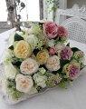 スタイルロココ カップ咲きのイングリッシュローズブーケ(ホワイト・ピンク・ラベンダー・イエロー)  【シルクフラワー・アーティフィシャルフラワー】 花束 薔薇 造花