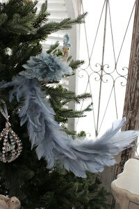 クリスマスオーナメント♪(ブルースカイバード・ロングテール)鳥モチーフシャビーシック北欧フレンチロマンティック可愛いクリスマス飾りツリーオーナメントツリートップ
