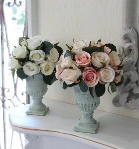 【エントリーでP14倍中】バラのトピアリースタイル・アレンジメント(ピンク系・ホワイト系)造花アレンジローズラウンド型【輸入雑貨、シャビーシック、ヨーロピアン雑貨、アンティーク風antiqueshabbychic】