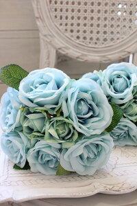 【エントリーでP14倍中】オールド・ブルーブーケローズ(8本タイプ)【シルクフラワー・アーティフィシャルフラワー】紫色花束薔薇造花