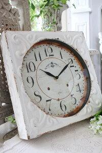 ホワイトスチール・ウォールクロック掛時計クォーツ時計白色シャビーシックフレンチカントリーアンティーク雑貨アンティーク風姫系antique