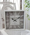 スタイルロココ グレー×ホワイトスチール・ウォールクロック 掛時計 クォーツ時計 白色 シャビーシック フレンチカントリー アンティーク 雑貨 アンティーク風 姫系
