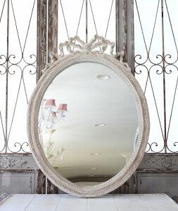Coquecigruesコクシグルフランス★リボンミラーオーバルMIVEPierreUseeアンティークホワイト壁掛けミラーシャビーシックアンティーク風フレンチカントリー