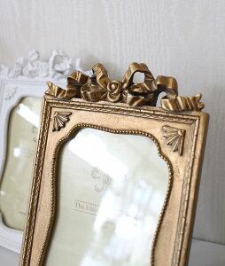 リボンモチーフのレクトフォトフレーム(ホワイト・ゴールド)♪♪写真立てファミリーフォトシャビーシックフレンチカントリーアンティーク雑貨姫系輸入雑貨antiqueshabbychic