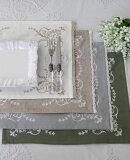 刺繍が素敵なランチョンマット(コットン・4色) 35×45cm テーブルセンター プレースマット 敷物 フレンチシック 輸入雑貨 アンティーク風 シャビーシック フレンチカントリー antique ネコポスOK