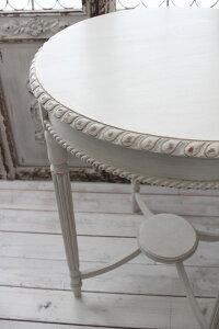 NEW♪フランス家具ティーテーブル・アンティークベージュ机円形花台飾り台木製シャビーシックアンティーク調フレンチカントリーフレンチシック