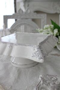 アンティーク風なフレンチ食器シェルシリーズ【スクエアケーキスタンド】フレンチ食器フランスアンティーク調陶器フレンチカントリーシャビー