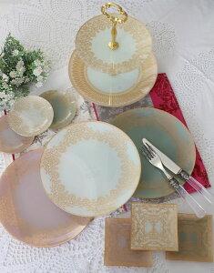 トリアノン・ガラス食器プレート・3色ガラス製ケーキ皿中皿輸入食器アンティーク風アンティーク食器雑貨antiqueロココ調