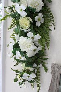 フラワーデコ・ホワイトローズ造花の壁掛けシルクフラワーアーティフィシャルフラワーウォールデコ壁飾り薔薇
