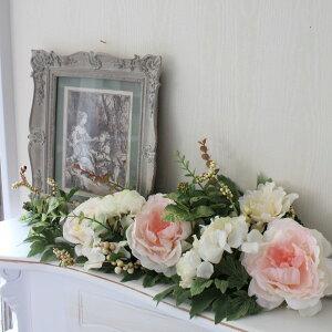 フラワーデコ・ピンクシャクヤク造花の壁掛け芍薬シルクフラワーアーティフィシャルフラワーウォールデコ壁飾り薔薇
