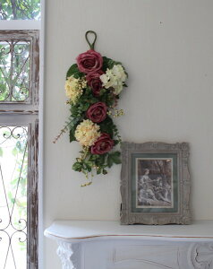 フラワーデコ・ピンクモーブ&アジサイ造花の壁掛けシルクフラワーアーティフィシャルフラワーウォールデコ壁飾り薔薇紫陽花