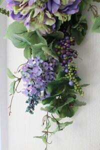 フラワーデコ・ブルー&パープルアジサイ造花の壁掛けシルクフラワーアーティフィシャルフラワーウォールデコ壁飾り薔薇紫陽花