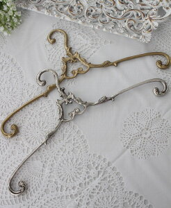 アンティーク風のデコラティブハンガー真鍮製(ゴールド・シルバー)洋服ハンガーアンティークゴールドシャビーシックアンティーク輸入雑貨フレンチカントリー姫系