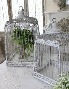 シャビーシック・バードゲージ(2サイズセット)アイアン製鳥かごオブジェ置物フレンチカントリーアンティーク雑貨輸入雑貨antiqueshabbychic