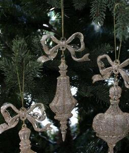 X'mas♪♪アクリルリボンオーナメント(ピンクゴールド)クリスマスオーナメントツリーオーナメントシャビーシックフレンチカントリーアンティーク雑貨輸入雑貨antiqueshabbychic