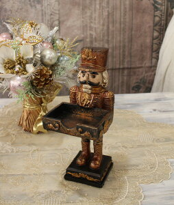 X'mas♪♪くるみ割り人形のカードスタンド置物オブジェクリスマスディスプレイシャビーシックフレンチカントリーアンティーク雑貨輸入雑貨antiqueshabbychic