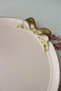 NEWイタリア製リボンSOLDIラウンドトレイお盆丸型ピンク×ゴールドリボントレイーディスプレイ木製アンティーク風シャビーシック輸入品