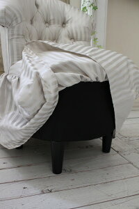 NEW♪♪ロマンティックなファブリックチェア【プリマ・ストライプグレー】スツール椅子布張りシャビーシックアンティーク調フレンチカントリー可愛い姫系オットマン【送料無料】