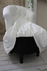 NEW♪♪ロマンティックなファブリックチェア【プリマ・ホワイト】スツール椅子布張りシャビーシックアンティーク調フレンチカントリー可愛い姫系オットマン【送料無料】