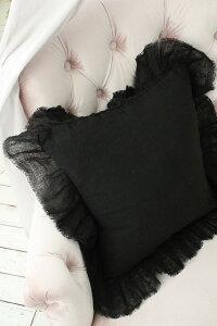 シャビーシックなリネンのクッションカバー♪♪【リネンフリルクッションカバー・ブラック45cm角(フラター)】リネン100%布製フレンチカントリーTAMTAM