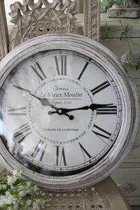 シャビーホワイトのフレンチ掛け時計(フランスロゴ)アンティーク雑貨掛け時計ウォールクロックアンティーク風シャビーシックantique