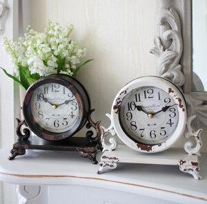 シャビーなアイアンフレンチ置時計(ホワイト・ブラウン)置時計テーブルクロック輸入雑貨アンティーク調アンティーク雑貨antique