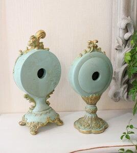エメラルドグリーンのシャビーな置時計(スカラップ型、猫足型)置時計テーブルクロック輸入雑貨アンティーク調アンティーク雑貨antiqueお洒落