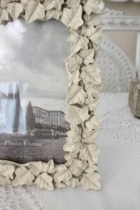 ガーデンアイビーの写真立て♪(アイビーフォトM)額縁写真立てオフホワイトシャビーシックフレンチカントリーアンティーク雑貨姫系輸入雑貨antiqueshabbychic