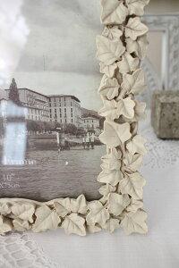 ガーデンアイビーの写真立て♪(アイビーフォトL)額縁写真立てオフホワイトシャビーシックフレンチカントリーアンティーク雑貨姫系輸入雑貨antiqueshabbychic