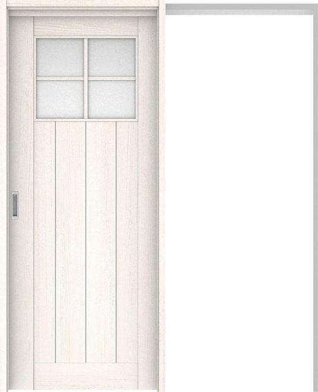 ハピアプレミア 吊戸・引込 1Sデザイン扉セット 2000高 1645幅 アッシュ柄(ネオホワイト) 大建工業の建具:住まコレ