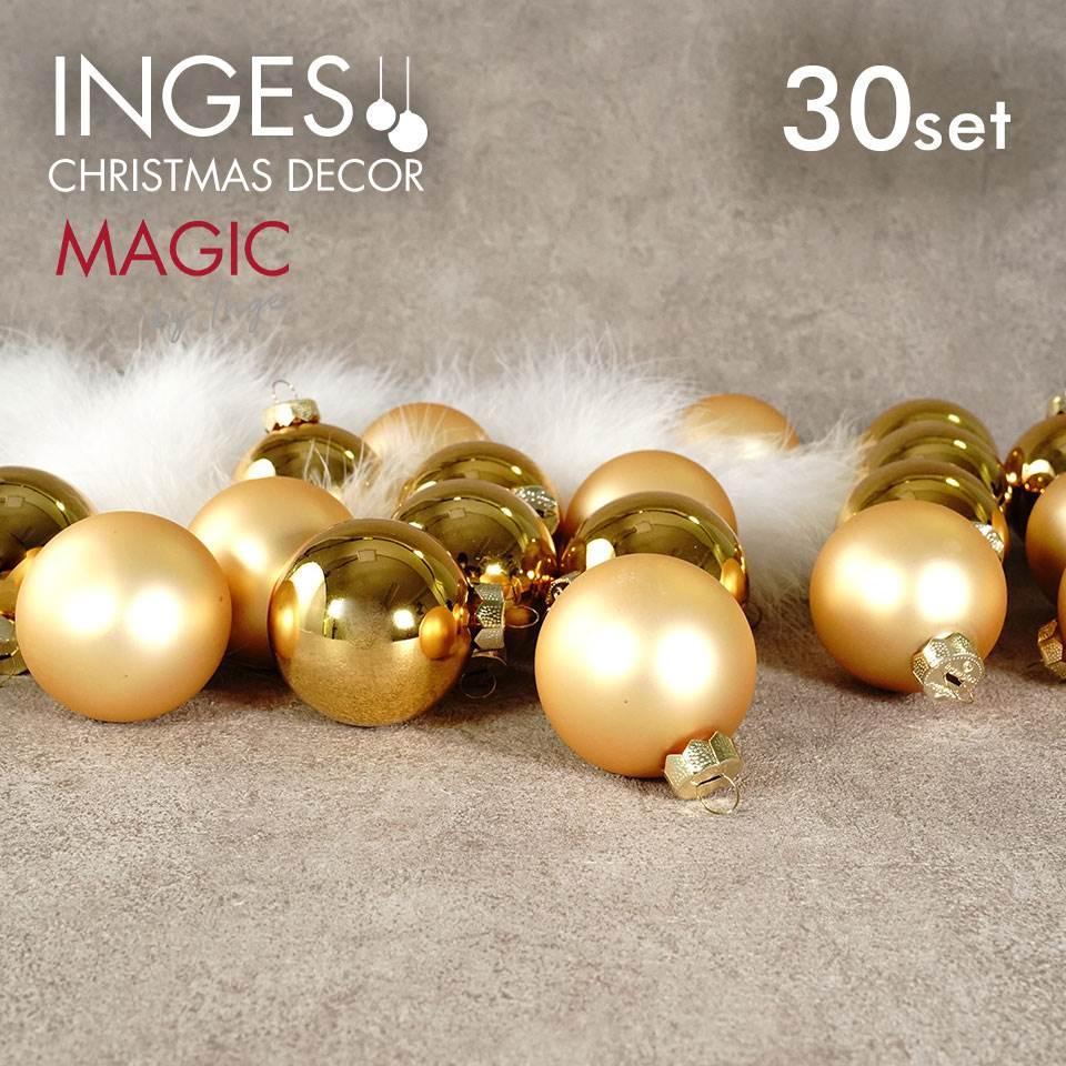 INGE-GLAS MAGIC 6cm玉/インカゴールドガラスボール 30個入りクリスマスツリー オーナメント ガラス製 ボール セット インカゴールド 6cm シャイニー マット 艶あり 艶なし 30個入画像