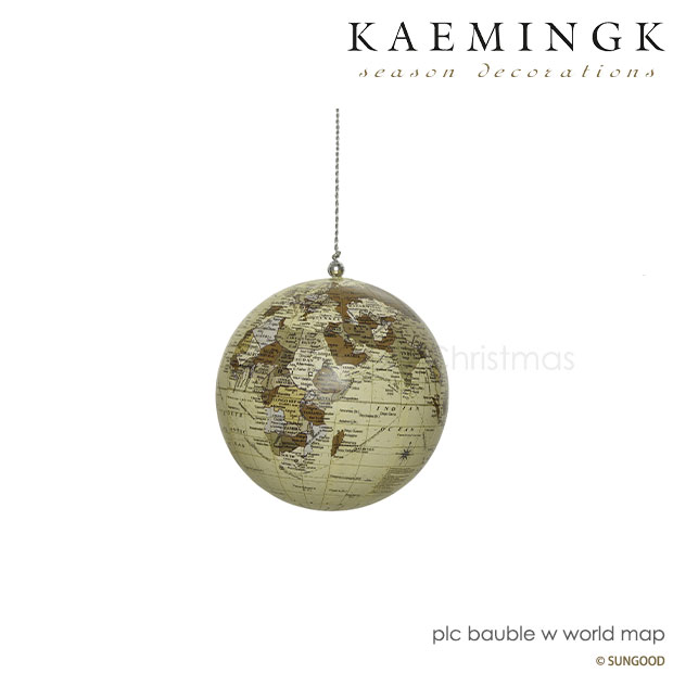 KAEMINGK アンティークグローブ 白デコレーション オーナメント ボール 地球儀 グローブ 世界地図 ワールドマップ 地球 アース クラシカル アンティーク調 ヴィンテージ風 直径10cm 100mm ホワイト インテリア オブジェ【580013 白】 クリスマス画像