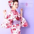 浴衣8点セット【YS242】レディース浴衣 新作 可愛い 白地 赤 薔薇 花