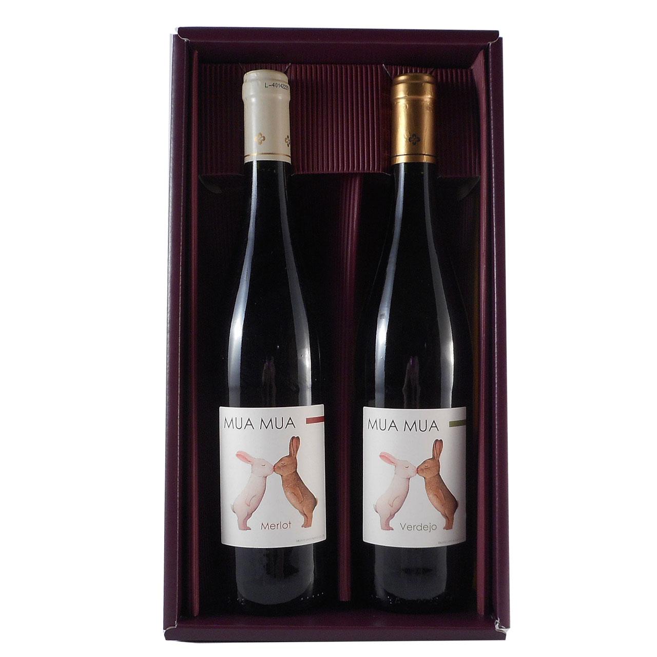 遅れてごめんね 父の日 ギフト ワイン ギフトセット ムアムア ブランコ ティント うさぎのラベルが可愛いワインセット 赤白2本 ギフトセット 750ml スペイン 赤ワイン 白ワイン 送料無料 楽ギフ_のし 結婚祝い 内祝 バレンタイン