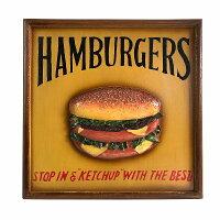 木製看板41eハンバーガーインテリアポスターファーストフード雑貨サインボードサインプレートアートアメリカン雑貨