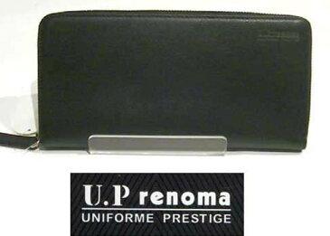 U.P renoma レノマ ラウンド束入れ・ブラック  (ファスナー長財布) ★TKコレクション★ 0426-38