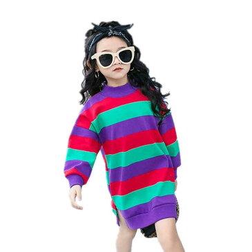 新作 子供服 長袖 パーカー ワンピース キッズ 女の子 パーカー おしゃれ 韓国子供服 女の子 パーカー・スウェット 可愛い トップス Tシャツ パーカー・スウェット Tシャツ キッズ ボーダー柄 女の子底打ち パーカー スクール