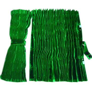 アコーディオン式仮眠カーテン [コスモス:グリーン(緑)] w2,400mm×h800mm 2枚入(4t〜大型用) ※カーテンフック付