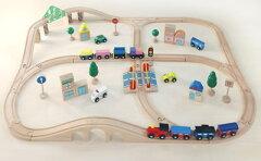 木製汽車レールで、夢の街づくり。木のおもちゃ・★送料無料★汽車レールセットアドバンス【51p...