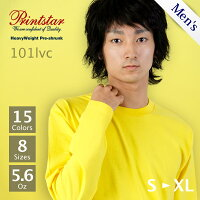 Printstar(プリントスター):ヘビーウェイトリブ無し無地ロンT5.6oz:S〜XL