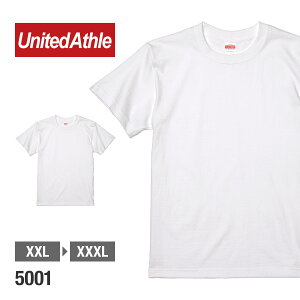 UnitedAthle(ユナイテッドアスレ):半袖無地Tシャツ5.6oz.(製品染め加工用):P.F.D(ホワイト):XXL、XXXL:48%OFF