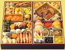 商品画像:マルエツの人気おせち2018楽天、和洋中生おせち 「絢爛(けんらん)」 6.5寸×4段重 全41品 ※冷蔵・送料無料 ○