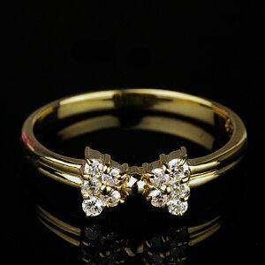 とっても可愛らしいリボン型ダイヤモンドリング【K18イエローゴールド】【送料無料】【dia】【d...