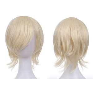 Wig 3 piece set Easy Handy Halloween Costume Short Wolf Cosplay Color Free Shipping Full Wig Wig Ladies Cosplay Hairnet Wig Stand With Bonus Costume Anime Matching Group Cute White Gold zoom Online Drinking Party